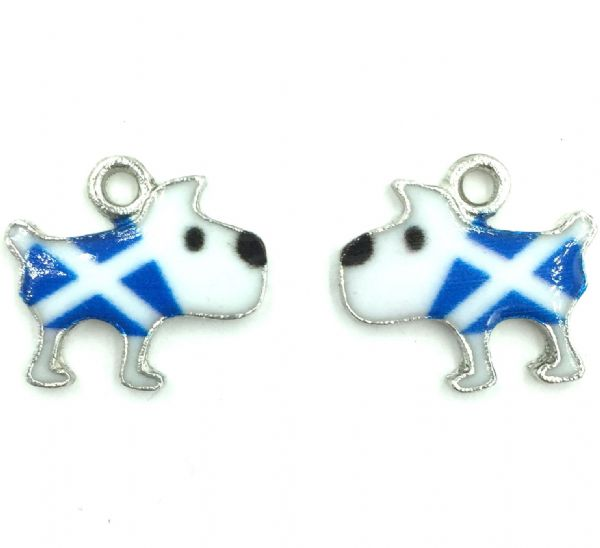 Scottish charm - Blue and white Saltire flag - Dog - 17mm x 15mm